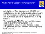 what is activity based cost management