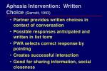 aphasia intervention written choice garrett 1993
