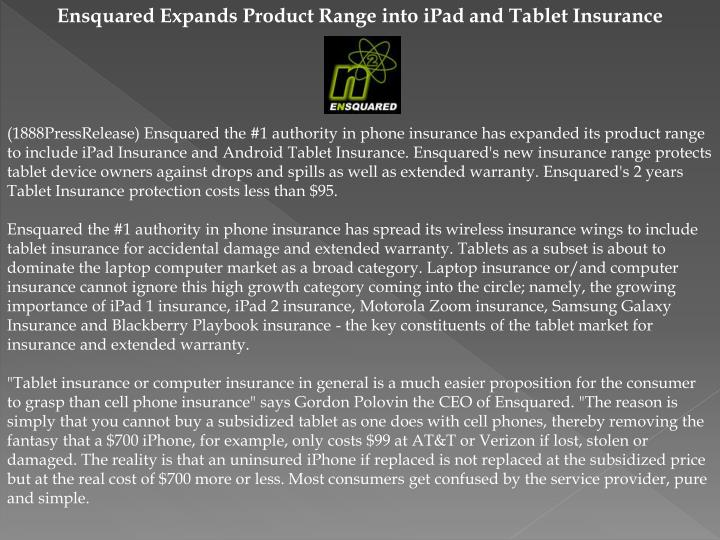 Ensquared Expands Product Range into iPad and Tablet Insurance