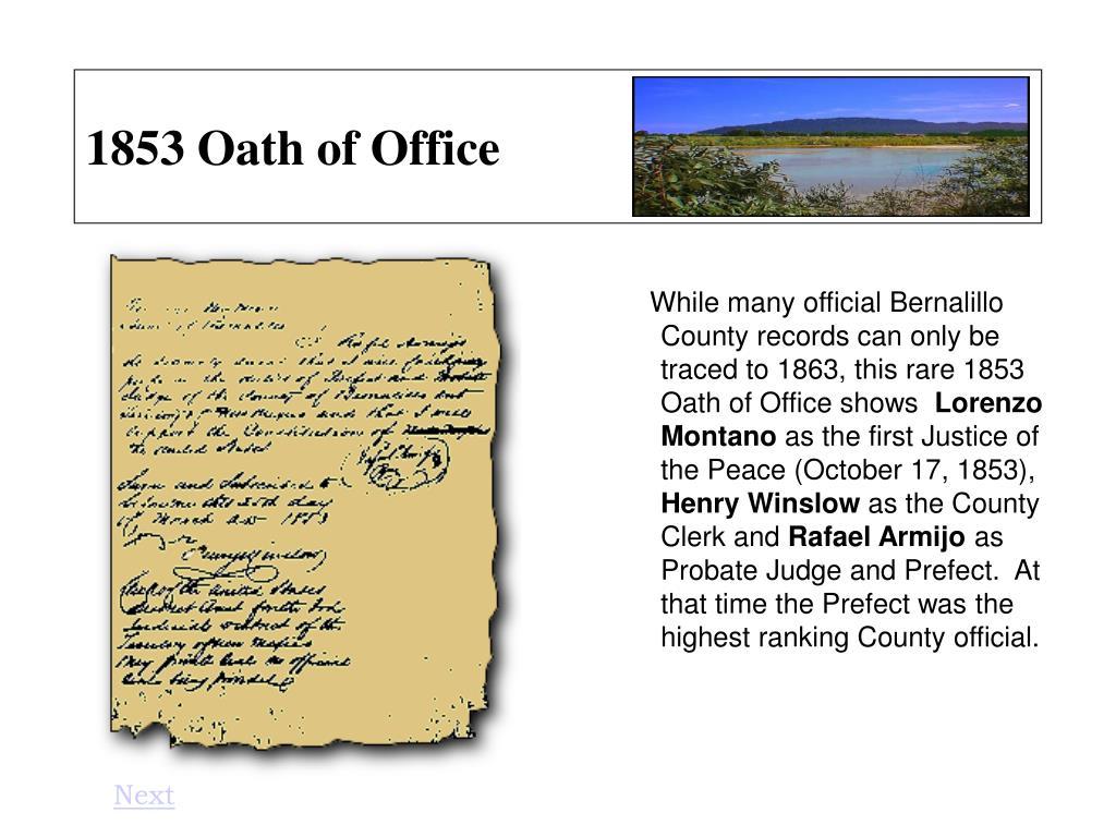 1853 Oath of Office