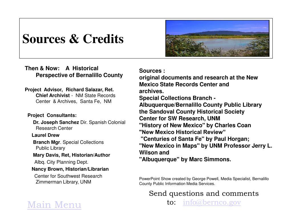 Sources & Credits