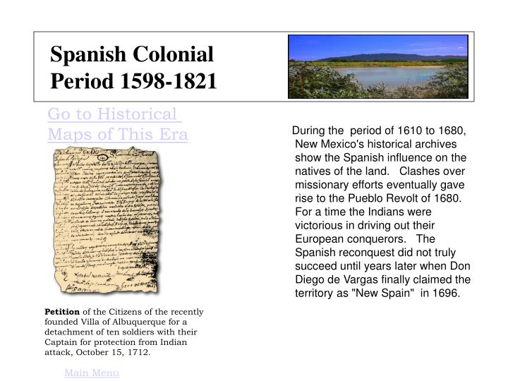 Spanish colonial period 1598 1821