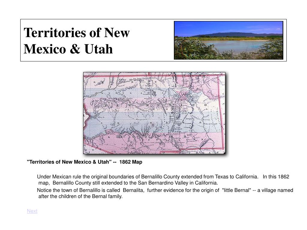 Territories of New Mexico & Utah