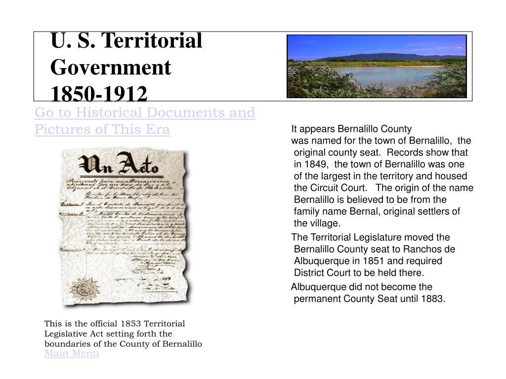 U. S. Territorial Government