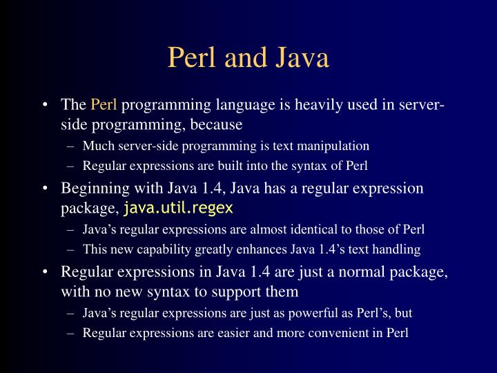 Perl and java