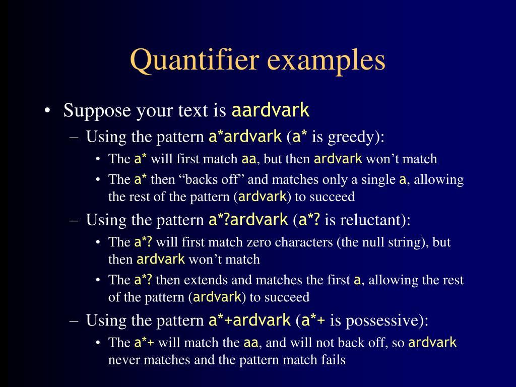Quantifier examples