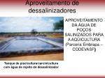 aproveitamento de dessalinizadores