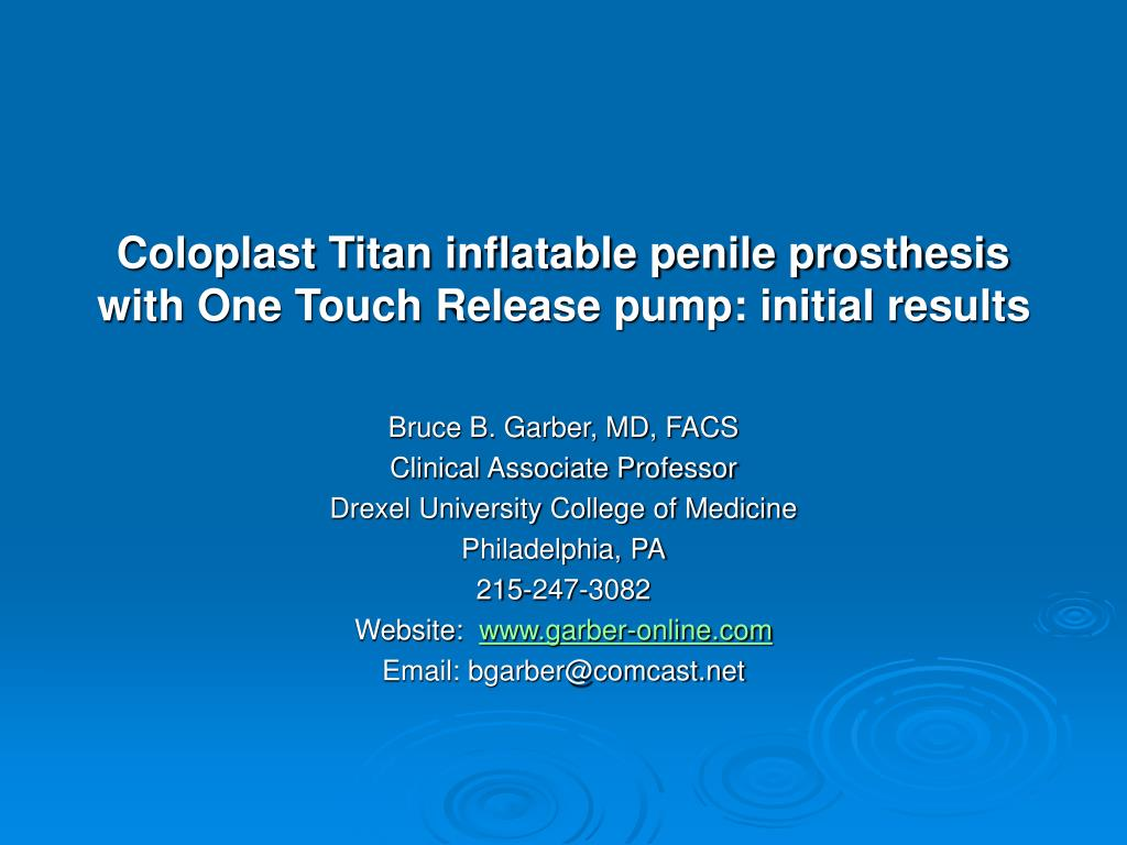 coloplast titan inflatable penile prosthesis with one touch release pump initial results l.