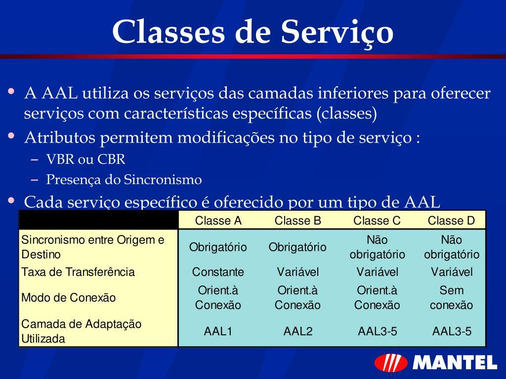 Classes de Serviço