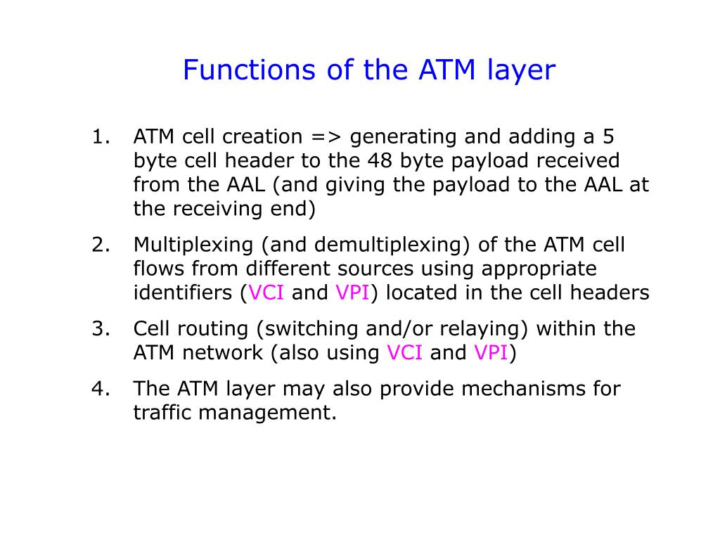Functions of the ATM layer