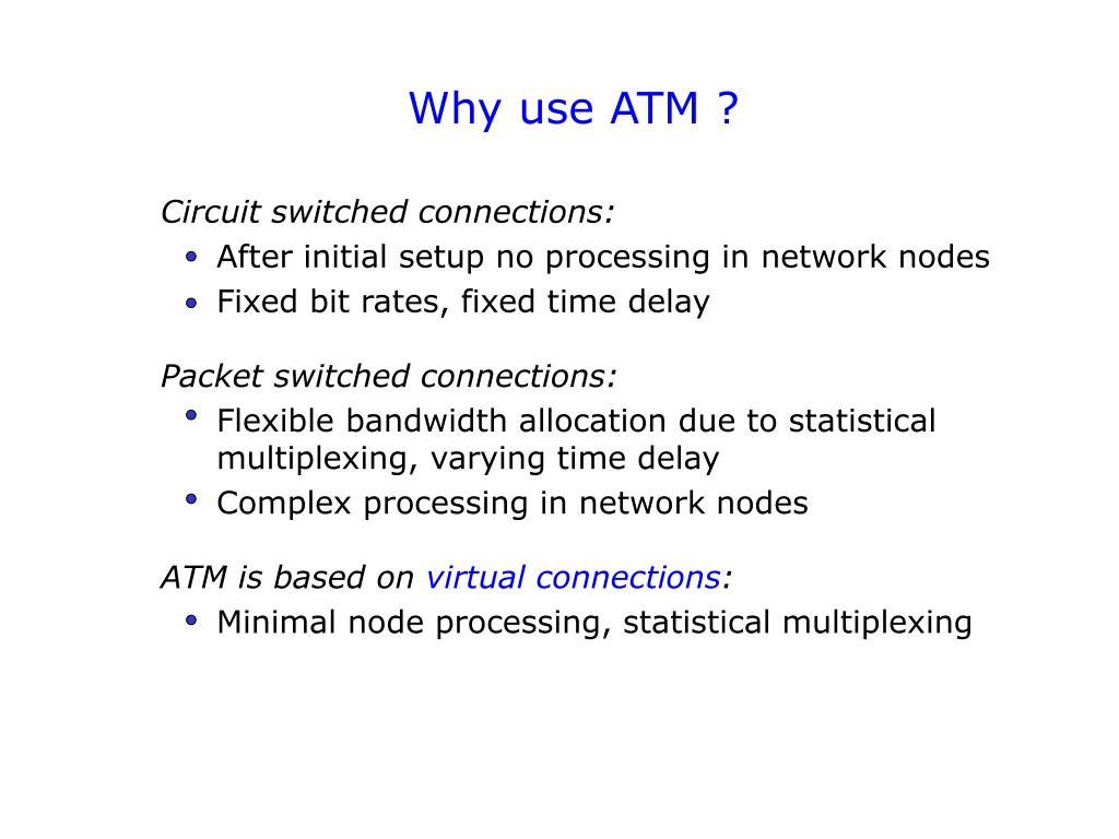 Why use ATM ?