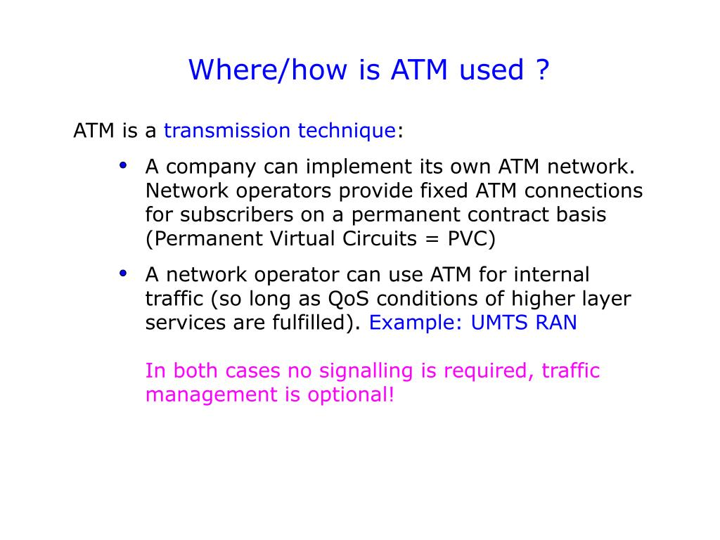 Where/how is ATM used ?