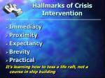 hallmarks of crisis intervention