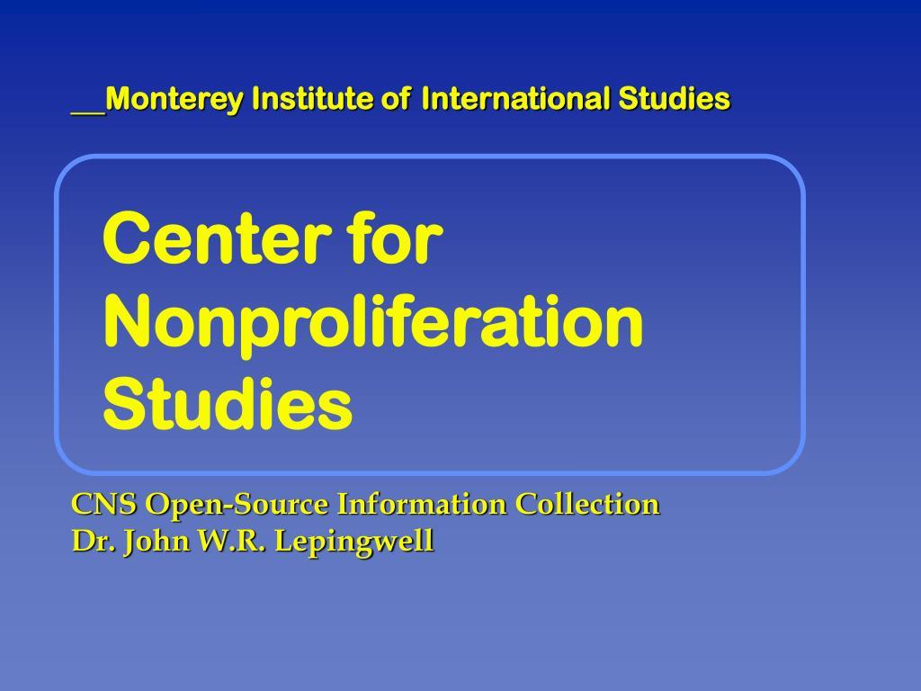 center for nonproliferation studies l.