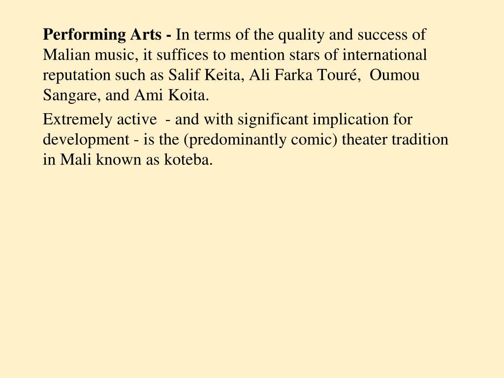 Performing Arts -