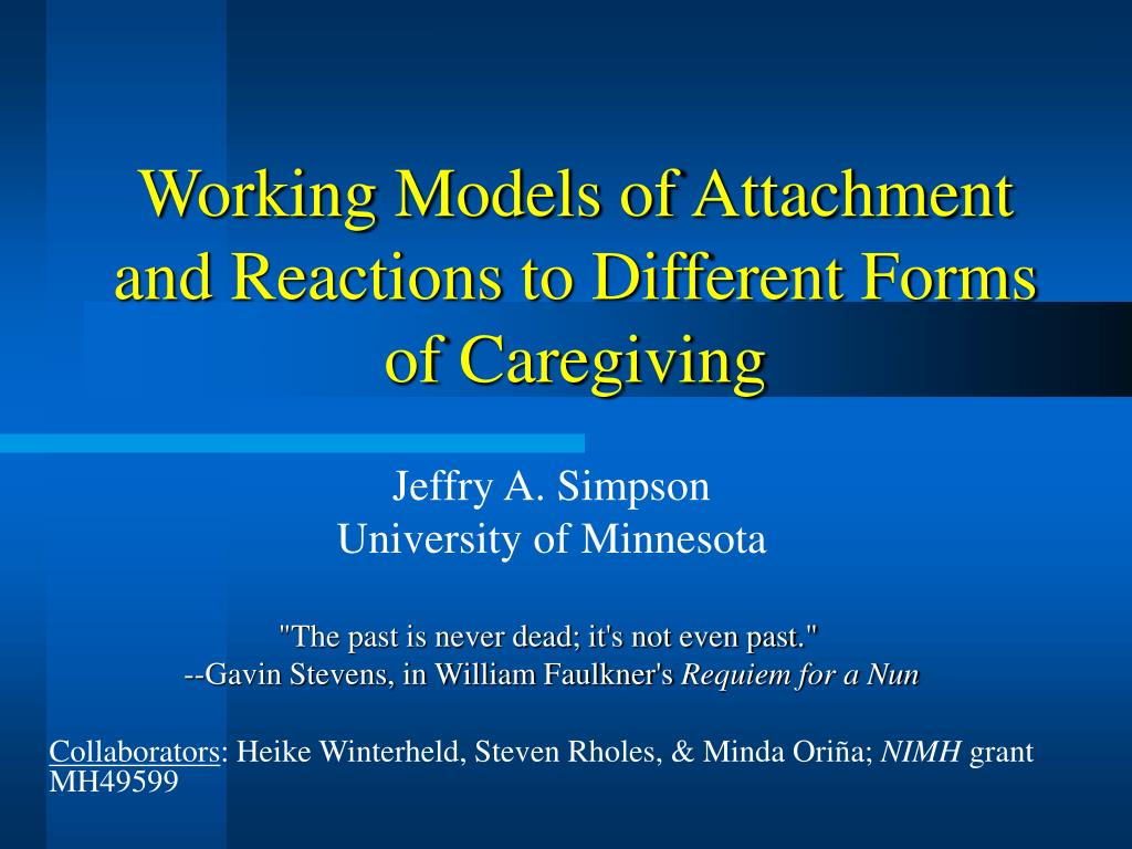 working models of attachment and reactions to different forms of caregiving l.