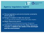 agency regulatory regime