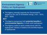 environment agency policy on hydropower