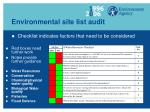 environmental site list audit