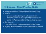 hydropower good practice guide