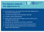 the agency expects the applicants to