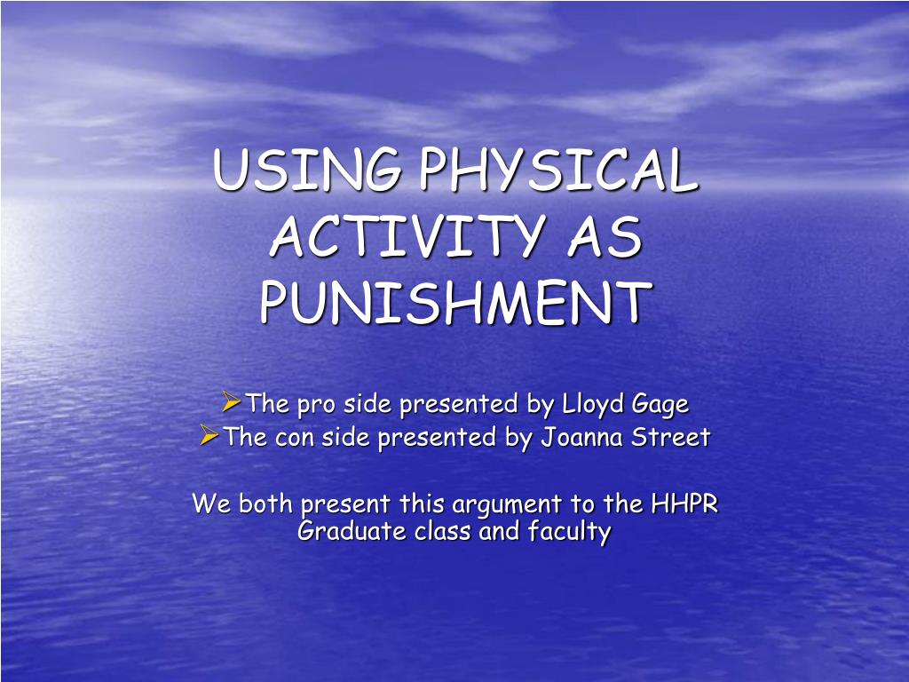 using physical activity as punishment l.