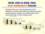 nsse 2004 nsse 2005 your institution s results