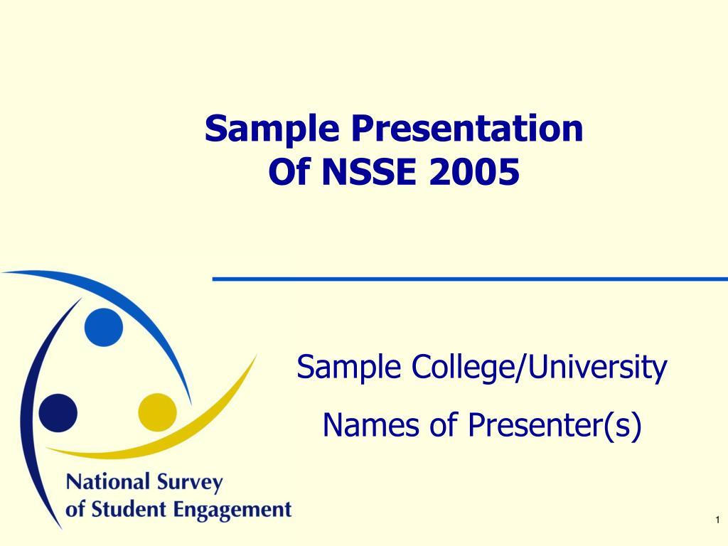 sample presentation of nsse 2005 l.