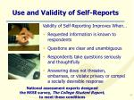 use and validity of self reports