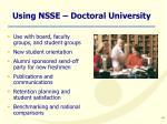 using nsse doctoral university