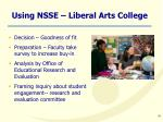 using nsse liberal arts college