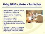 using nsse master s institution