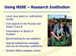 using nsse research institution