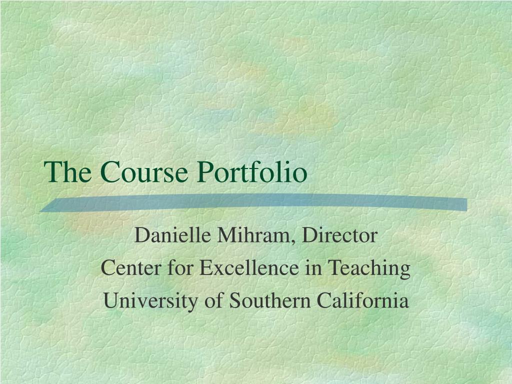 the course portfolio l.