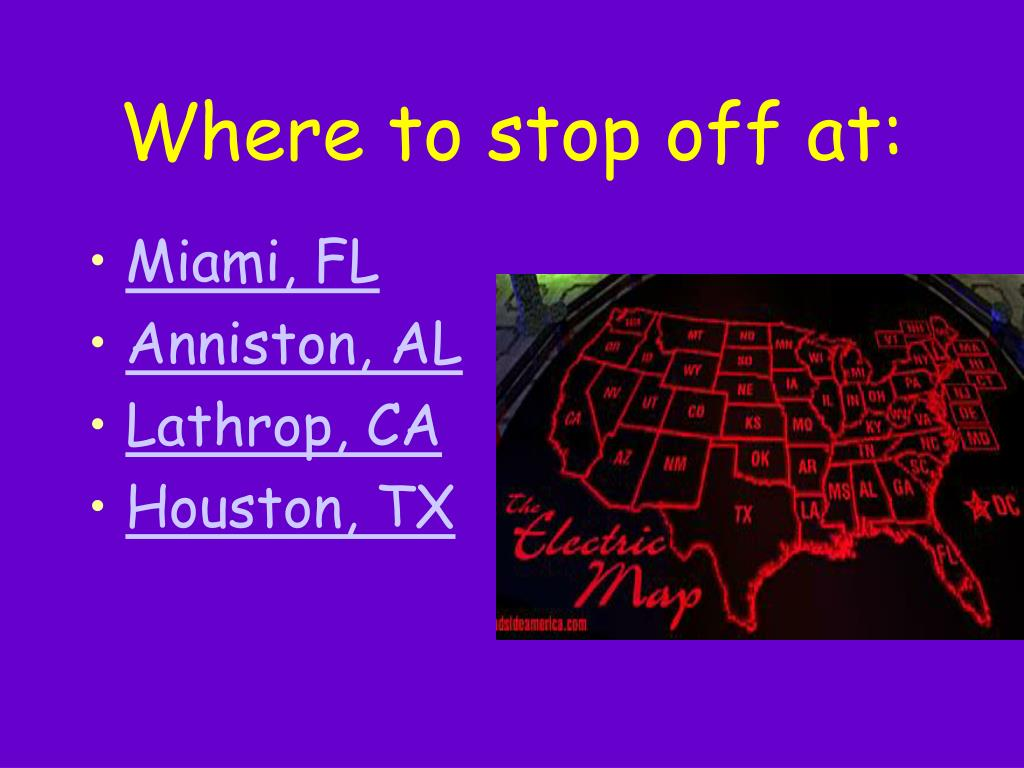 Where to stop off at: