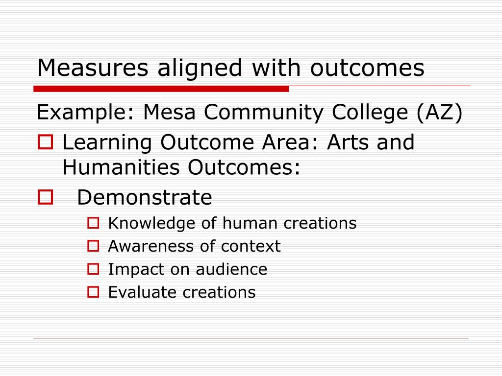 Measures aligned with outcomes