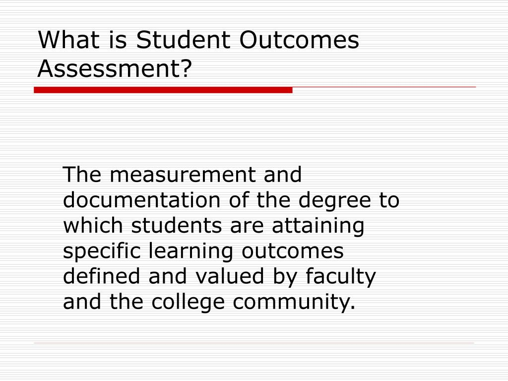 What is Student Outcomes Assessment?