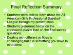 final reflection summary