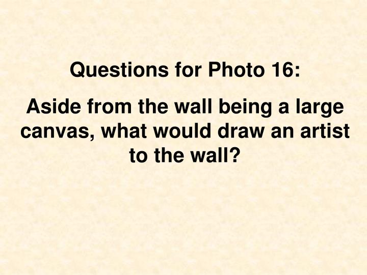 Questions for Photo 16: