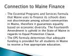 connection to maine finance