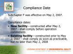 compliance date