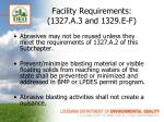 facility requirements 1327 a 3 and 1329 e f