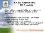 facility requirements 1329 b and d