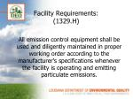 facility requirements 1329 h
