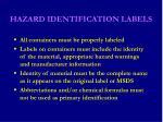 hazard identification labels