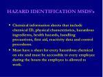 hazard identification msds s