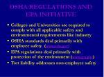 osha regulations and epa initiative