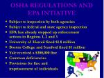 osha regulations and epa intiative