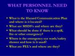 what personnel need to know