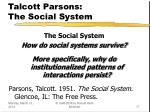 talcott parsons the social system